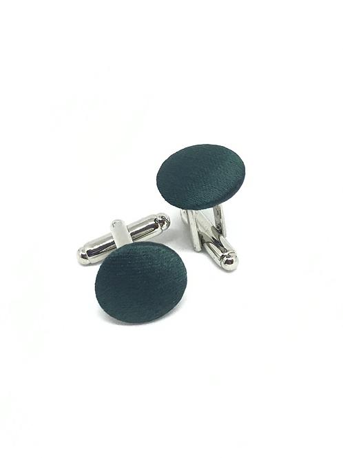"""Boutons de manchette - Beaux Garçons - """"Uni silk vert"""""""