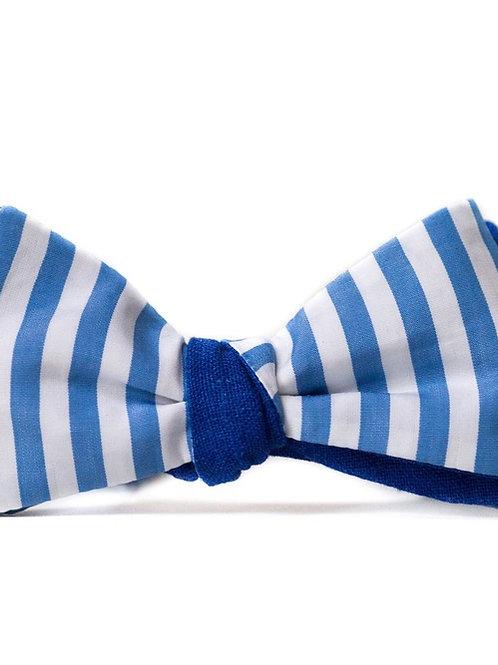 Noeud papillon Le Flageolet : rayé bleu clair revers bleu roi
