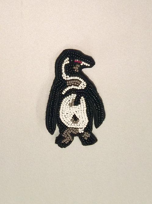 MELVINE - Broche pinguïn brodé de perles
