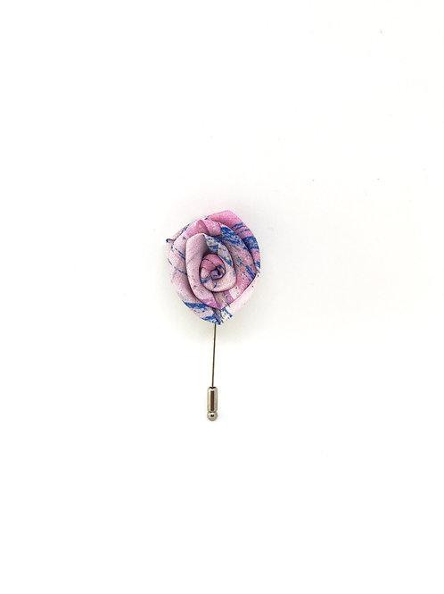 Boutonnière en soie - motif rose