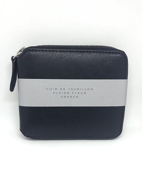 CARRE ROYAL - Portefeuille zippé cuir noir