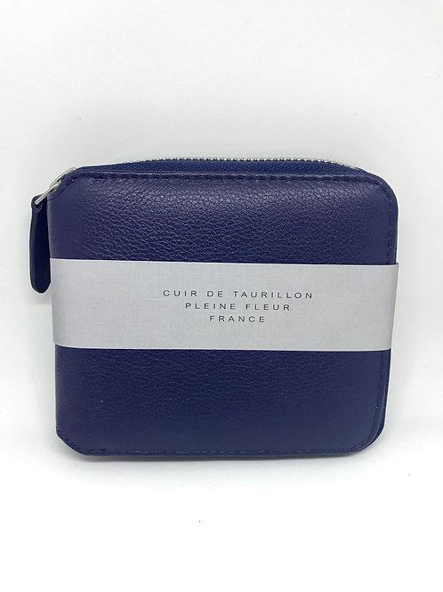 CARRE ROYAL - Portefeuille zippé cuir bleu