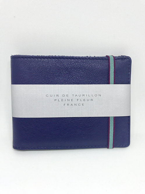 CARRE ROYAL - Porte carte cuir bleu