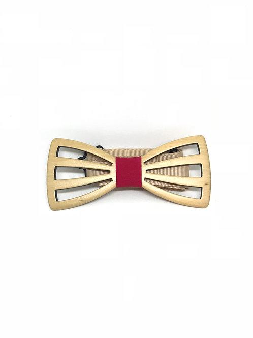 Noeud papillon bois - Grille rouge