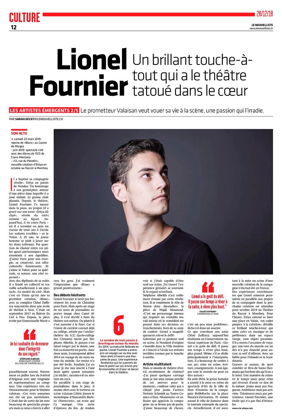 Lionel Fournier comédien portrait Le Nouvelliste