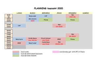 Planning vacances de la Toussaint