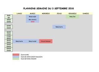 Planning de la 1ere semaine de la rentrée