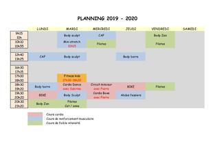 Nouveaux cours et planning 2019-2020 Début des cours le lundi 9 septembre