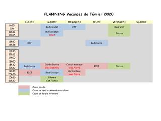Planning des vacances de Février