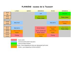 Modification de planning pour les vacances de la Toussaint