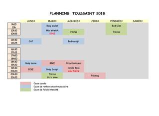 PLANNING POUR LES VACANCES DE LA TOUSSAINT