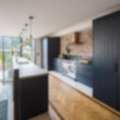 Herringbone floor kitchen concrete counter