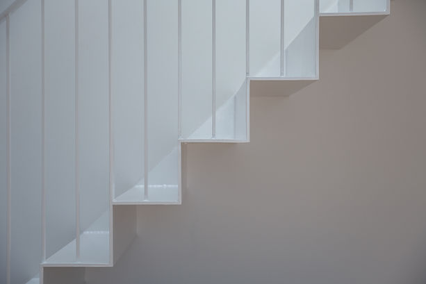 Folding steel stairs white