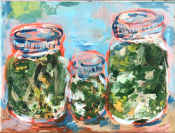 pickle jar trio painting