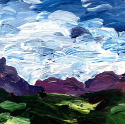 purple hill painting