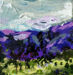 small purple hill painting