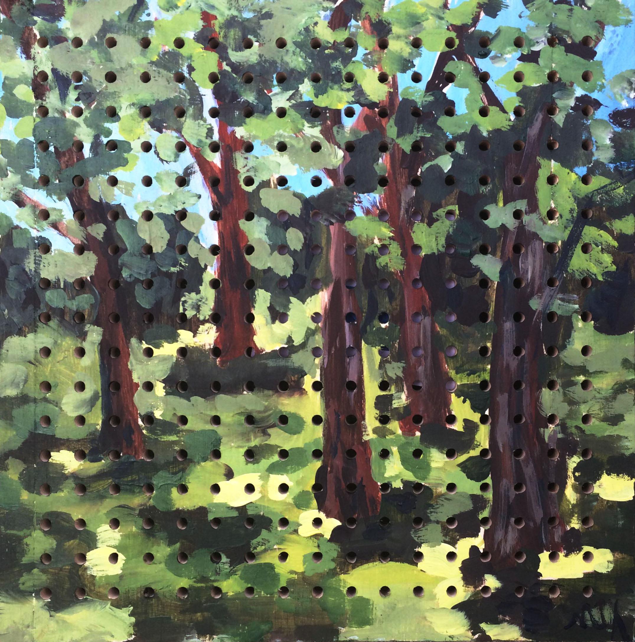 landscape painting trees acrylic