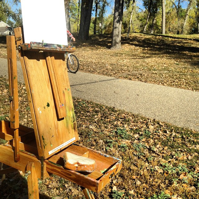 eating lunch at my easel- the life of a plein air painter