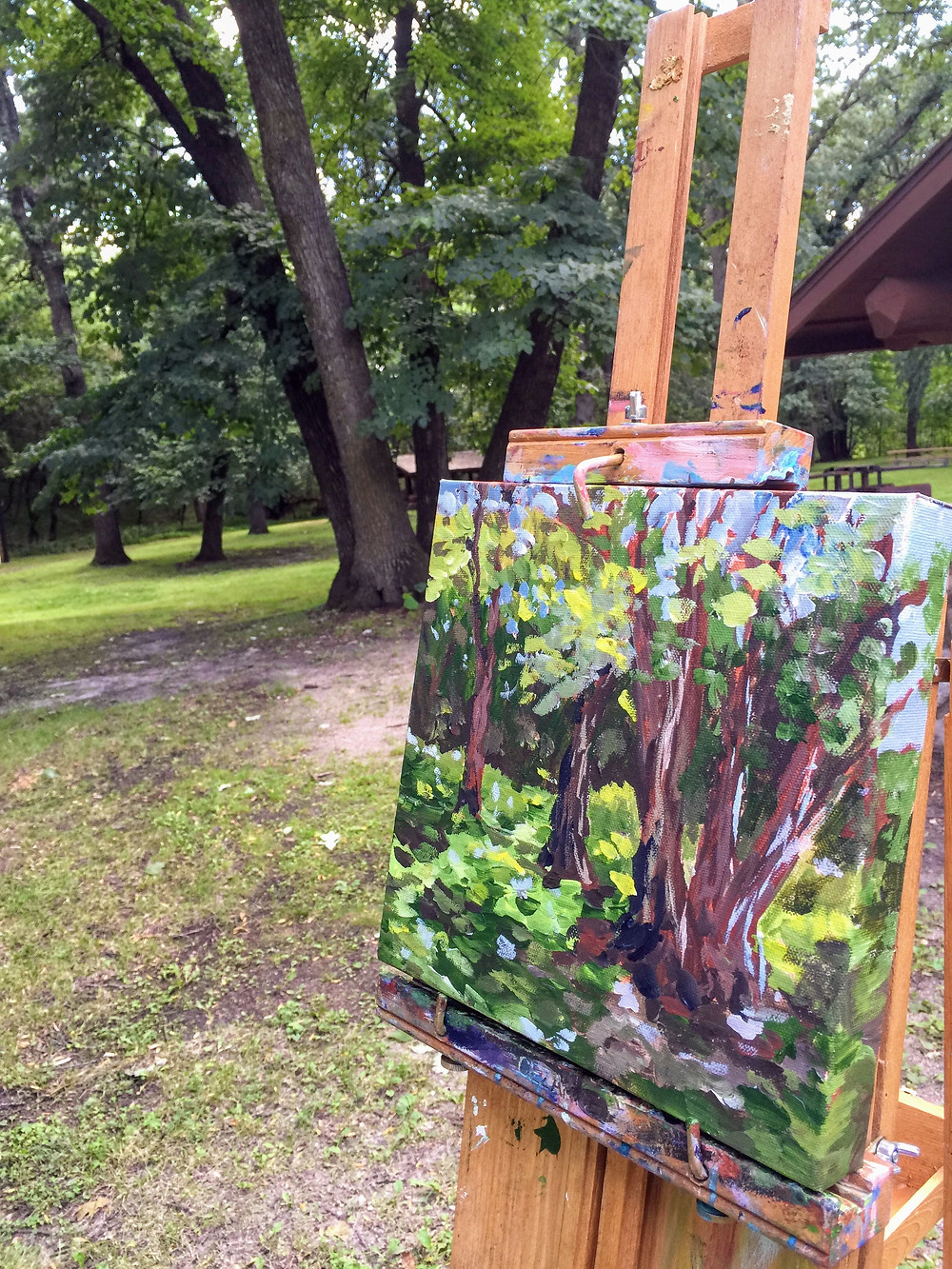 painting from life in acrylic at Turtle Lake State Park