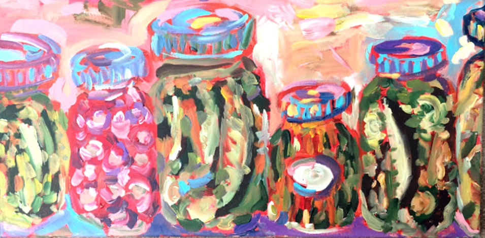 shelf of pickles painting