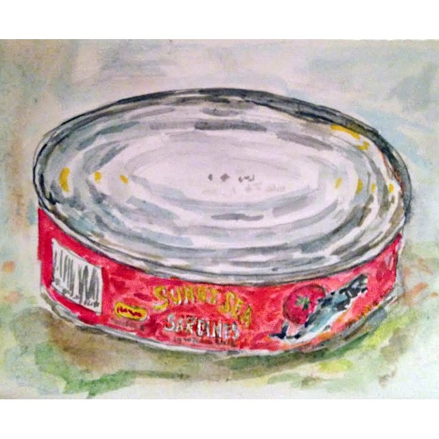The Humble Sardine Can- watercolor