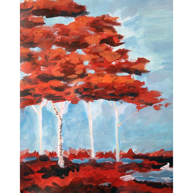 fall trees acrylic painting
