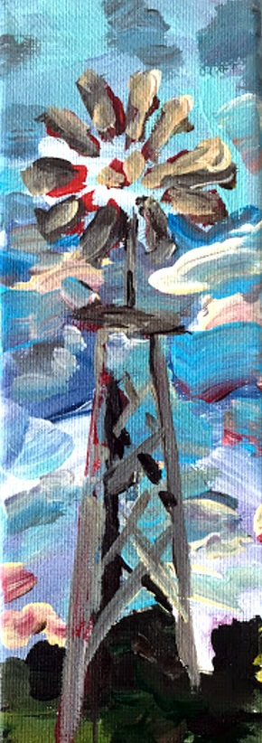 small windmill painting