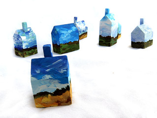 Pocket Sized Landscapes- Small Paintings on Driftwood and Mini Art House Wooden Blocks