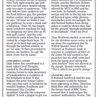 Feature on Covid Thoughts by Gemma Levine in The Times Diary