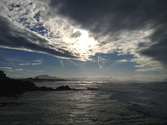 Sotto il Mare (The Ofi Press) - Julie Irigaray Poet - View of Biarritz and the Pyrenees, own artwork