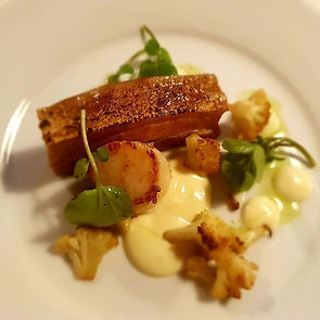 Pork belly, scallop and cauliflower. Suc