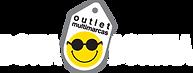 Logotipo Dona Dorina Outlet escrito em branco e no meio um card com o escrito _outlet multimarcas_ e o smile com óculos escuros
