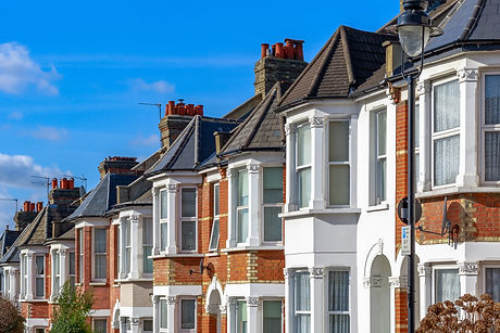 Row of typical English terraced houses i