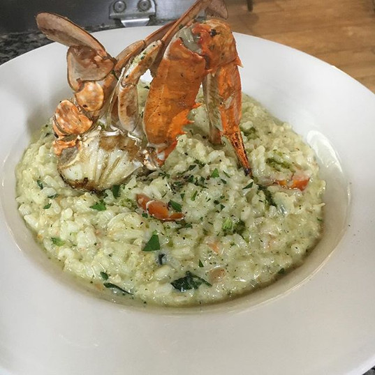 Our risotto of the day. Risotto with blu