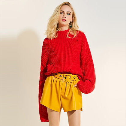 Pull Rouge Boyfriend Manches Larges Cosy Oversized Red Jumper Knitted