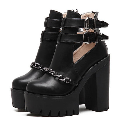 Bottines Plateformes Anti-dérapantes Cuir Ankle Rock Leather Boots