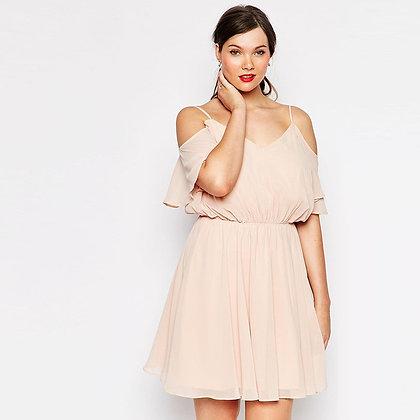 Robe Rose Fluide Off Shoulder Plus Sizes Light Pink Dress Kate
