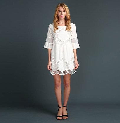 Robe en Crochet Tunique Blanche Summer Plus Sizes Dress Bohème Alba