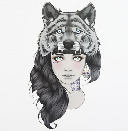 Tatouage éphémère Fille avec Tête de Loup 15*21