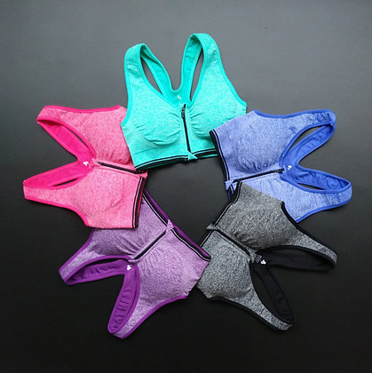 Brassière sport confort zippée avec fermeture devant maintien moyen opération mammaire chirurgie esthétique
