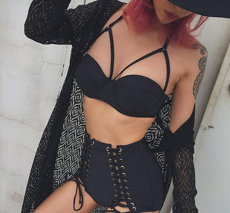Maillot de bain taille haute noir lacé rock punk lace-up high waist bikini 2018
