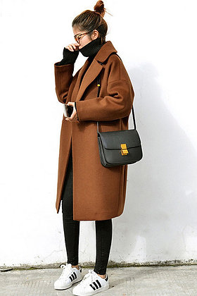 Trench mi-long Oversize Manteau Winter Coat Jacket Boyfriend