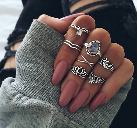 Set de 7 Bagues Gypsy Hype Rings Aliby x Paga
