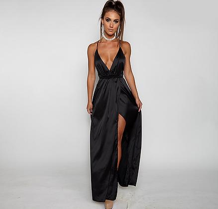 Robe longue fendue noire décolletée satin robe de soirée élégante