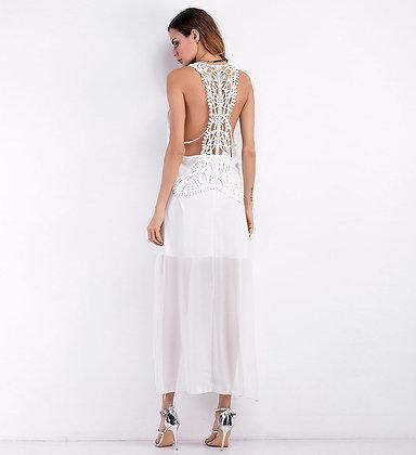 robe longue pour la plage blanche dos nu en crochet bohème