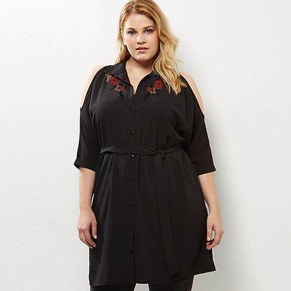 Blouse Noire Tunique Brodée Black Embroidered Plus Sizes Blouse Anna