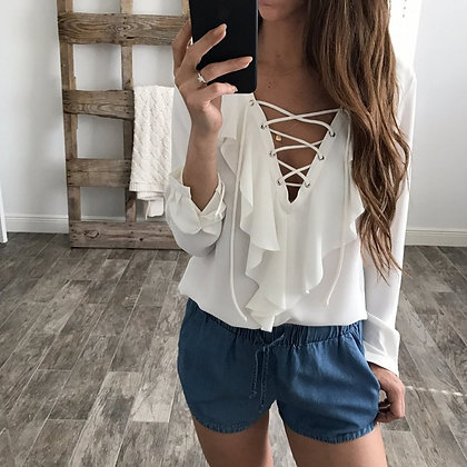 Blouse Blanche Manches Longues Ruffles