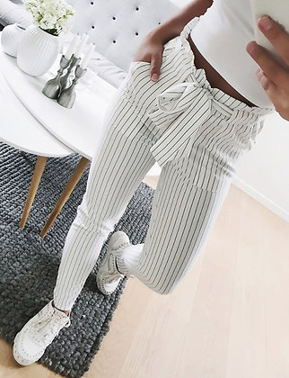 Pantalon Taille haute Carotte Ceinture Chino Rayé
