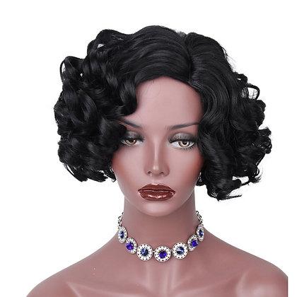 Perruque Brune Courte Boucles Black Hair Wig Aristocraty