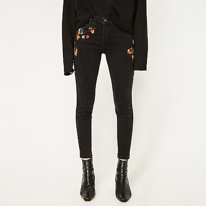 Pantalon Jeans Brodé Slim Skinny Fleurs Embroidered Jeans Zoila